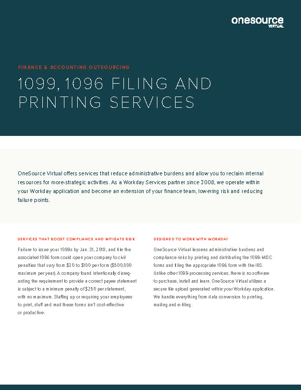 1099, 1096 Filing and Printing Services
