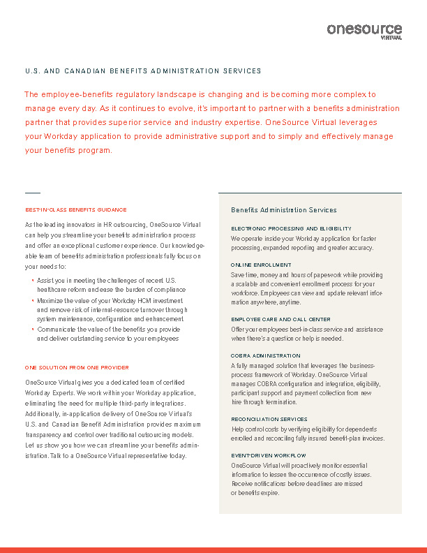 U.S. and Canadian Benefits Administration Services